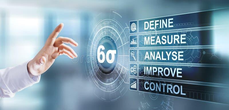 Βελτίωση της ποιότητας έξι sigma lean manufacturing industrial tool Ιδέα της επιχειρηματικής τεχνολογίας στην εικονική οθόνη στοκ φωτογραφία με δικαίωμα ελεύθερης χρήσης