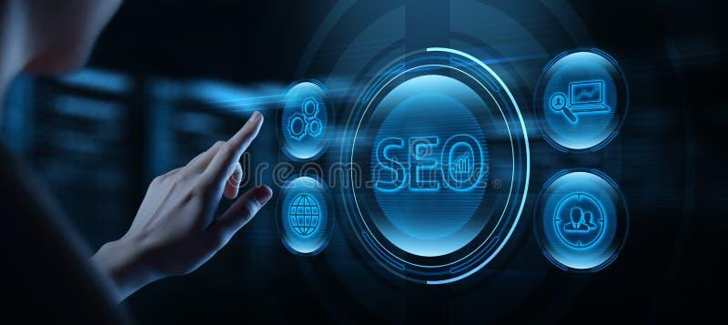 Βελτιστοποίηση μηχανών αναζήτησης SEO που εμπορεύεται ταξινομώντας την έννοια επιχειρησιακής τεχνολογίας Διαδικτύου ιστοχώρου κυκ στοκ εικόνες