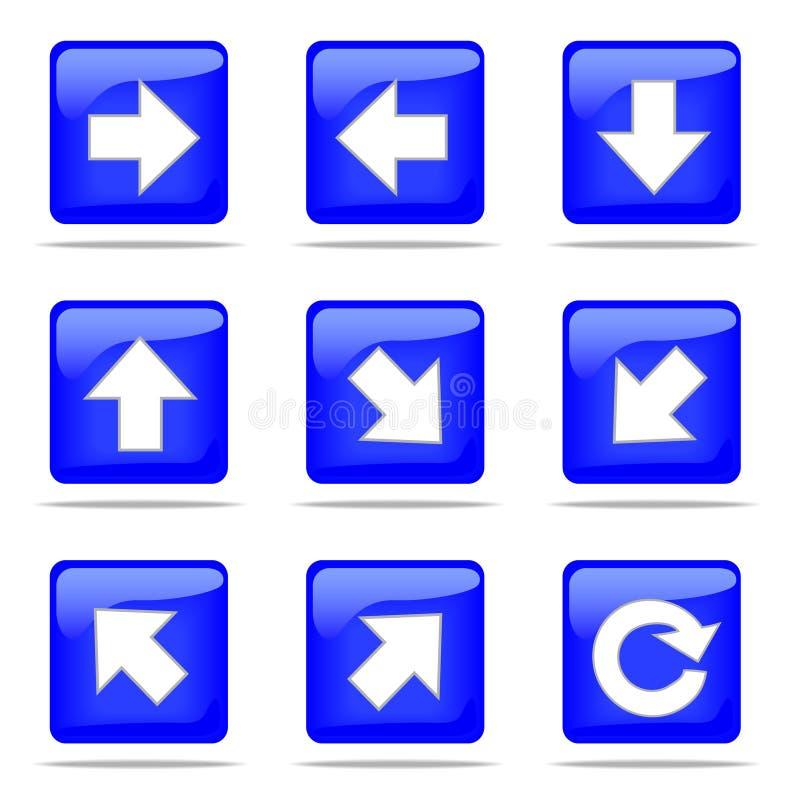 βελών κουμπιά που τίθενται μπλε απεικόνιση αποθεμάτων