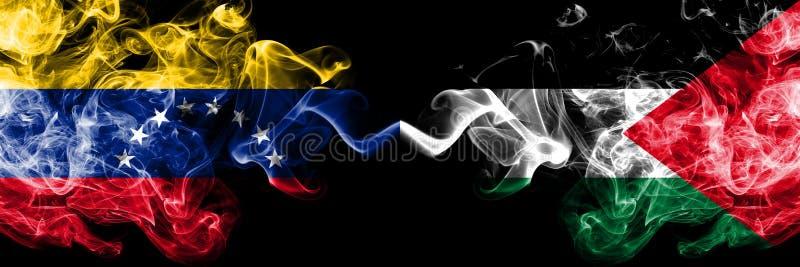 Βενεζουέλα εναντίον της Παλαιστίνης, παλαιστινιακές καπνώείς απόκρυφες σημαίες που τοποθετούνται δίπλα-δίπλα Πυκνά χρωματισμένες  ελεύθερη απεικόνιση δικαιώματος