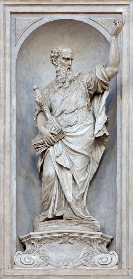 Βενετία - άγαλμα του Saint-Paul (1738 - 1755) από την εκκλησία Σάντα Μαρία del Ροσάριο (dei Gesuati Chiesa) από το Giovan Maria M στοκ εικόνες με δικαίωμα ελεύθερης χρήσης