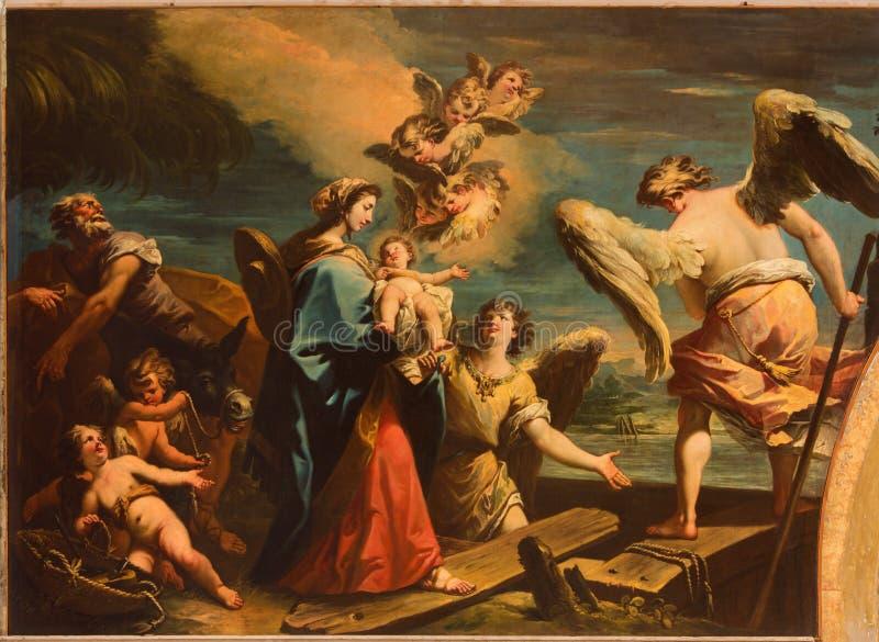 Βενετία - η πτήση στη σκηνή της Αιγύπτου (1733) από Gaspare Diziani στην εκκλησία Chiesa Di SAN Stefano στοκ εικόνα με δικαίωμα ελεύθερης χρήσης
