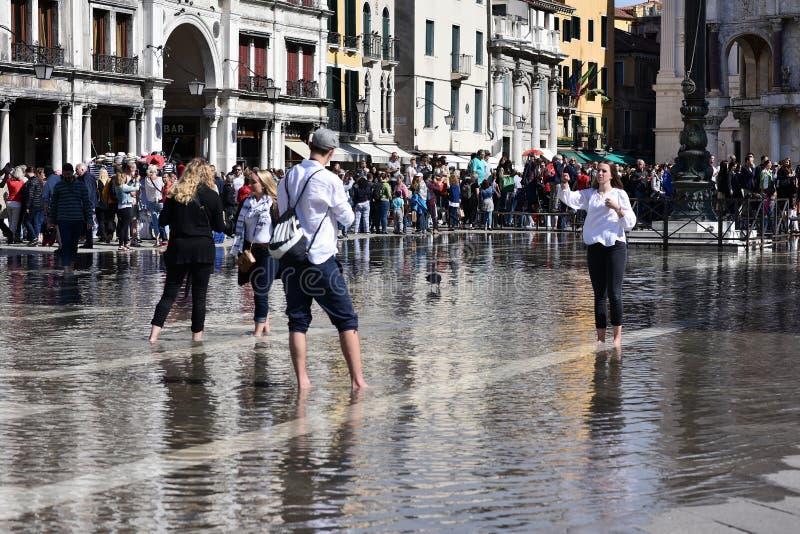 Βενετία κατά τη διάρκεια της παλίρροιας θάλασσας στην πλατεία SAN Marco στοκ φωτογραφία