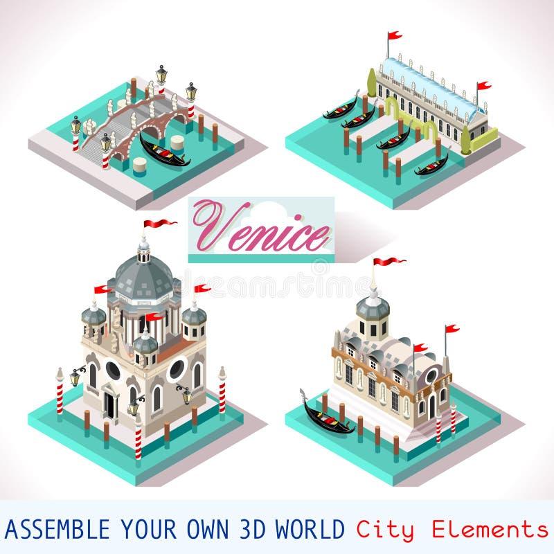 Βενετία 03 κεραμίδια Isometric ελεύθερη απεικόνιση δικαιώματος