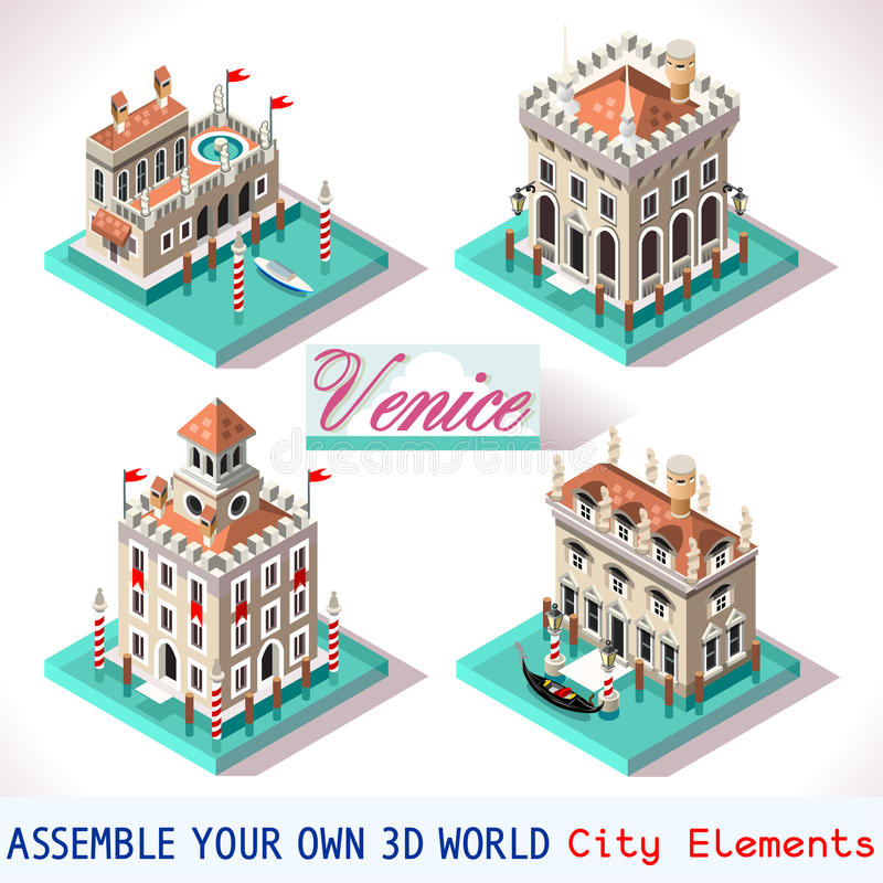 Βενετία 02 κεραμίδια Isometric απεικόνιση αποθεμάτων