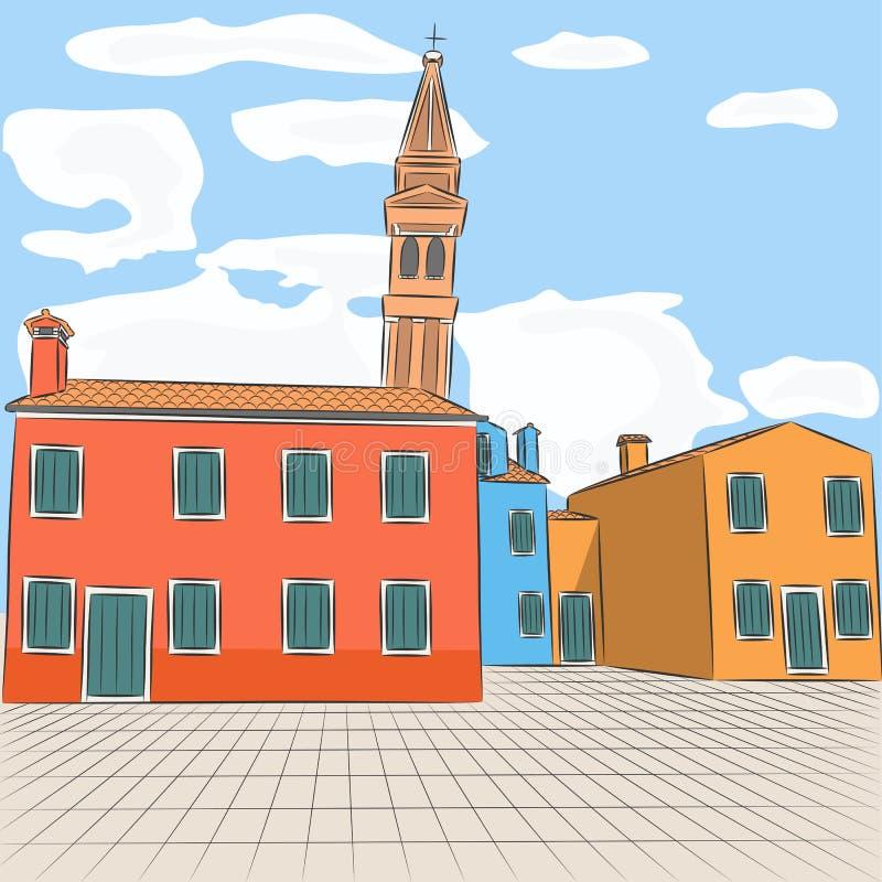 Download Βενετία Burano διάνυσμα διανυσματική απεικόνιση. εικονογραφία από διάσημος - 62724059