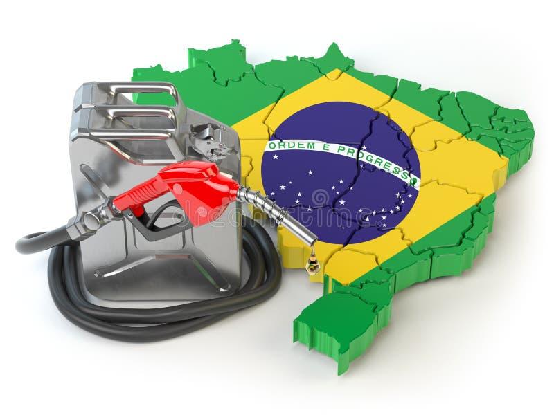Βενζίνη και κατανάλωση και παραγωγή βενζίνης στη Βραζιλία Χάρτης διανυσματική απεικόνιση