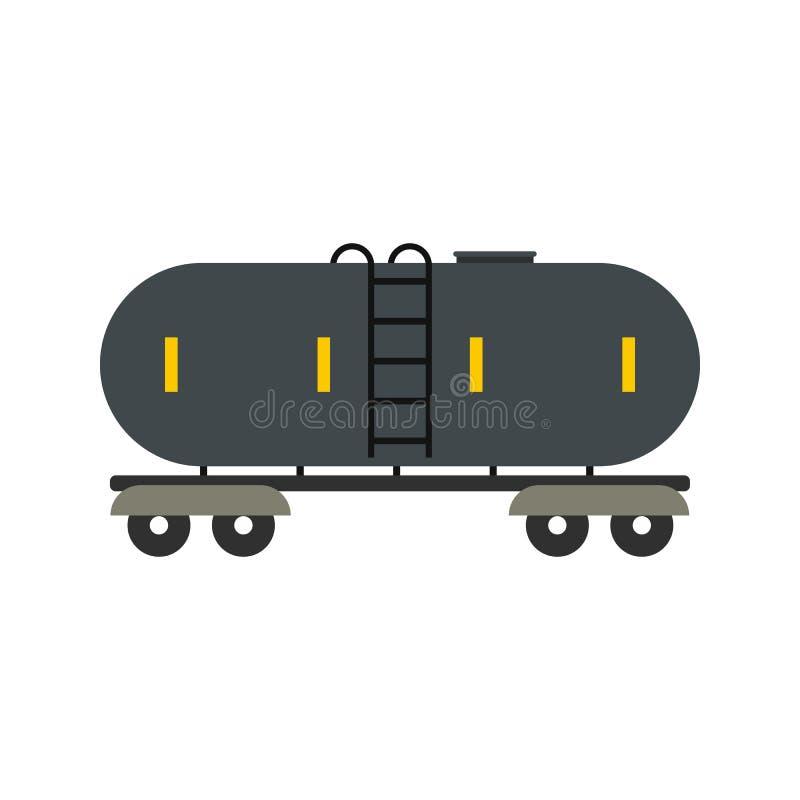 Βενζίνη σιδηροδρόμου και επίπεδο εικονίδιο δεξαμενών πετρελαίου διανυσματική απεικόνιση