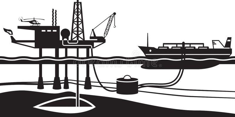 Βενζίνη φόρτωσης βυτιοφόρων από την παράκτια πλατφόρμα άντλησης πετρελαίου απεικόνιση αποθεμάτων