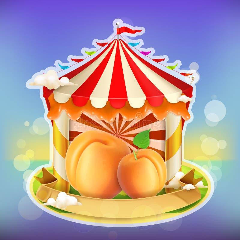 Βερίκοκο αφισών μαρμελάδας φρούτων διανυσματική απεικόνιση