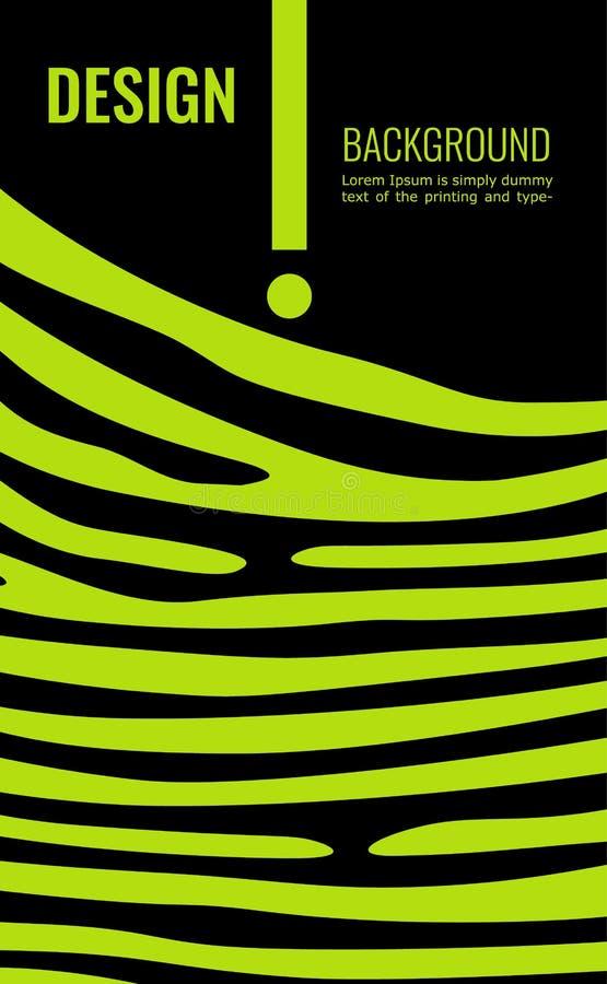 Βεραμάν κάθετο αφηρημένο υπόβαθρο Γραμμές χρώματος ασβέστη στο μαύρο σκηνικό Σύγχρονο υπόβαθρο για το σχέδιο κάλυψης, ιπτάμενο διανυσματική απεικόνιση