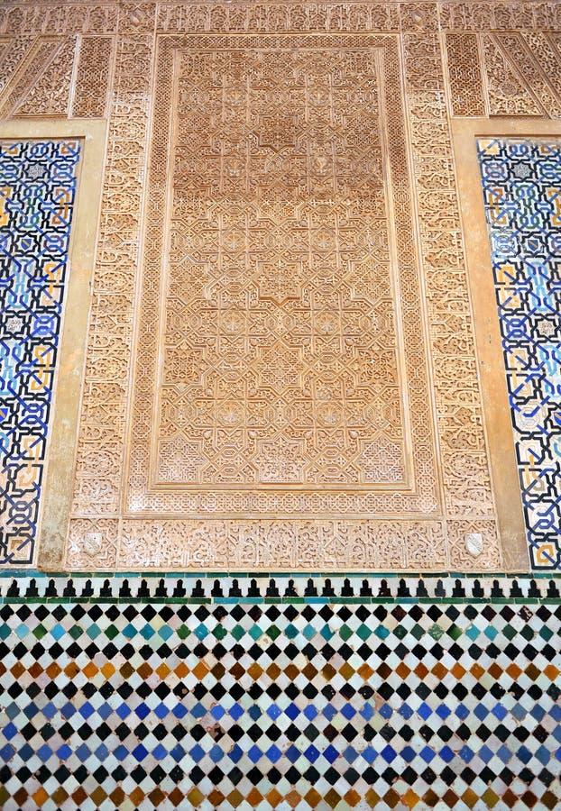 Βερνικωμένα κεραμίδια, azulejos, plasterwork, Alhambra παλάτι στη Γρανάδα, Ισπανία στοκ εικόνα