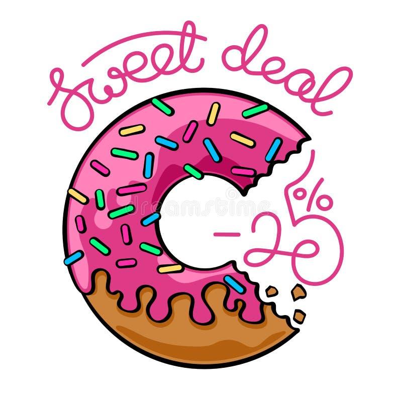 Βερνικωμένο doughnut έμβλημα πώλησης στοκ φωτογραφία
