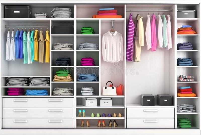 Βεστιάριο στα φωτεινά χρώματα Διαμέρισμα ντουλαπιών ελεύθερη απεικόνιση δικαιώματος