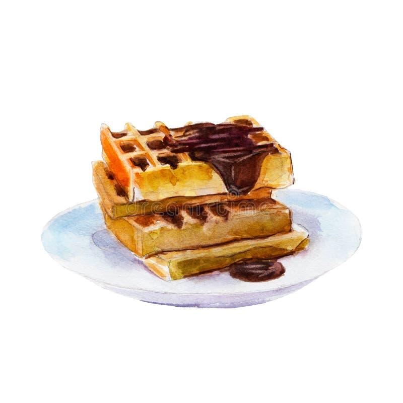 Βελγικές βάφλες με το σιρόπι σοκολάτας σε ένα άσπρο πιάτο, απεικόνιση watercolor διανυσματική απεικόνιση