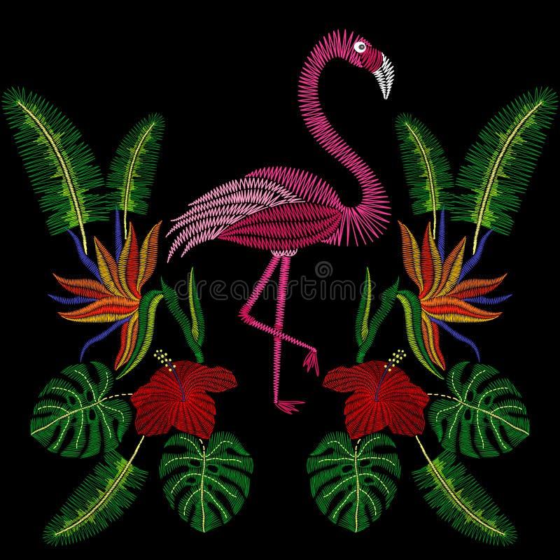 Βελονιές κεντητικής με το πουλί φλαμίγκο, τροπικά hibiscus λουλούδια ελεύθερη απεικόνιση δικαιώματος