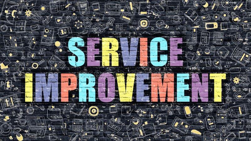 Βελτίωση υπηρεσιών σε πολύχρωμο Σχέδιο Doodle διανυσματική απεικόνιση