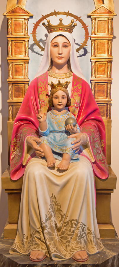 Βηθλεέμ - το χαρασμένο άγαλμα Madonna από 20 σεντ από τον άγνωστο καλλιτέχνη στο παρεκκλησι Grotto γάλακτος στοκ εικόνες
