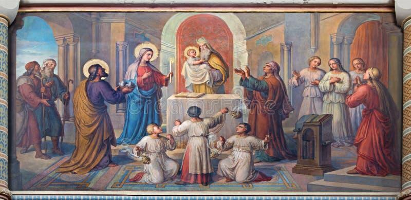 Βιέννη - παρουσίαση ο λίγος Ιησούς στο ναό στοκ φωτογραφία με δικαίωμα ελεύθερης χρήσης