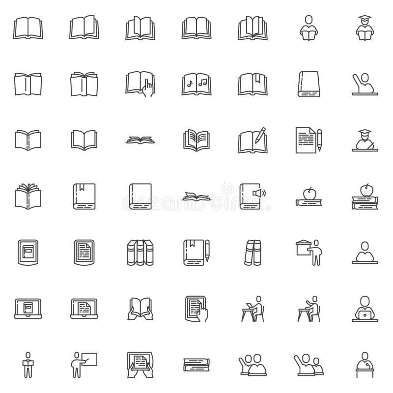 Βιβλία και εικονίδια γραμμών εκπαίδευσης καθορισμένα απεικόνιση αποθεμάτων