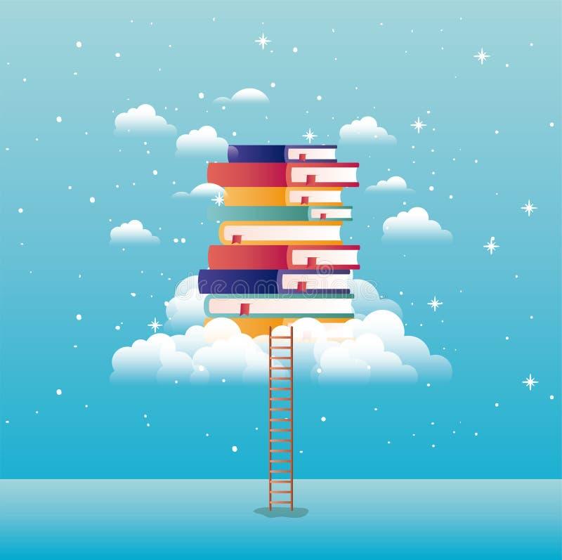 Βιβλία κειμένων με το σύννεφο και το σκαλοπάτι ελεύθερη απεικόνιση δικαιώματος