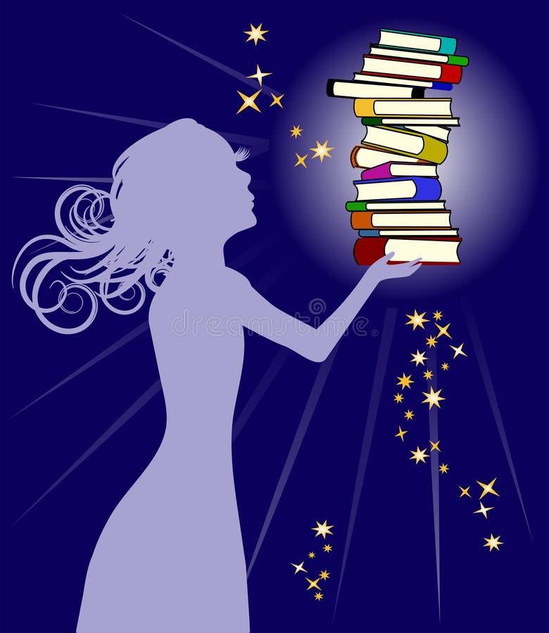 βιβλία που κρατούν τη γυν&a ελεύθερη απεικόνιση δικαιώματος