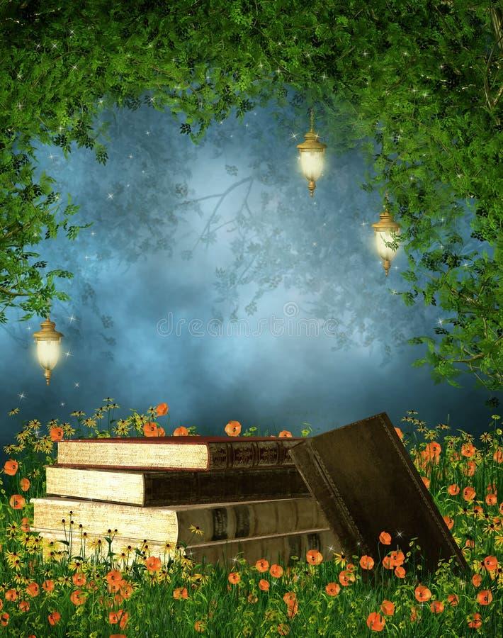 Βιβλία σε ένα λιβάδι διανυσματική απεικόνιση