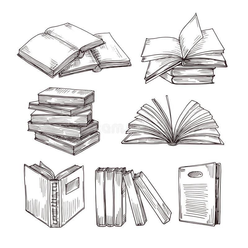 Βιβλία σκίτσων Μελάνι που σύρει το εκλεκτής ποιότητας ανοικτούς βιβλίο και το σωρό βιβλίων Διανυσματικά σύμβολα σχολικής εκπαίδευ ελεύθερη απεικόνιση δικαιώματος