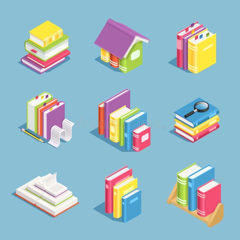 βιβλία isometric Σωρός των ανοικτών και κλειστού εγχειριδίων βιβλίων, Τρισδιάστατα διανυσματικά εικονίδια βιβλιοθήκης και εκπαίδε διανυσματική απεικόνιση