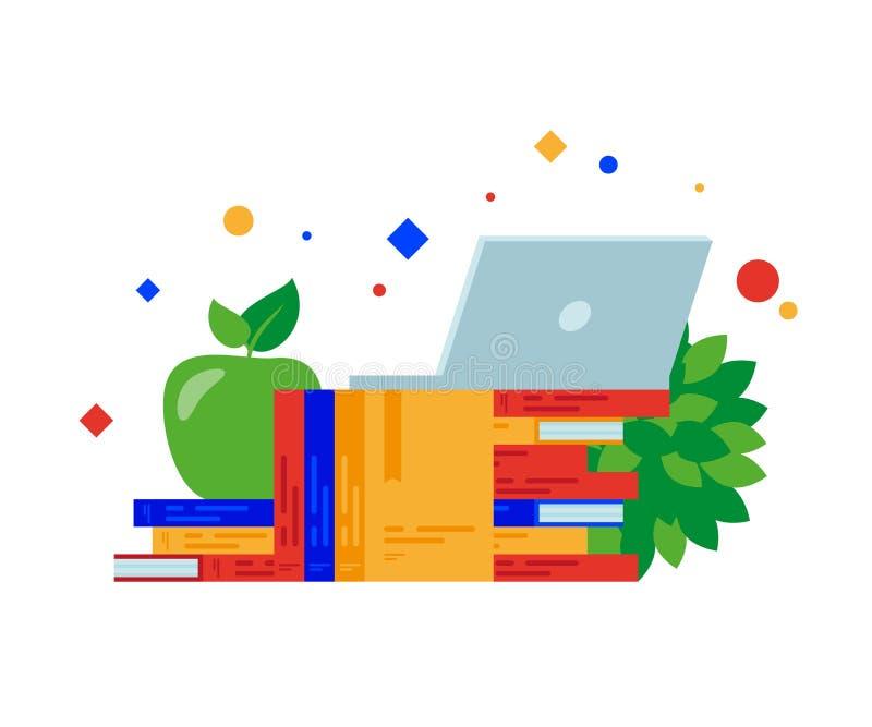 Βιβλία, lap-top και πράσινο μήλο ελεύθερη απεικόνιση δικαιώματος