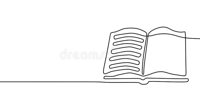 Βιβλίο ένα έμβλημα σχεδίων γραμμών Συνεχές συρμένο χέρι μινιμαλιστικό σχέδιο μινιμαλισμού που απομονώνεται στην άσπρη διανυσματικ απεικόνιση αποθεμάτων