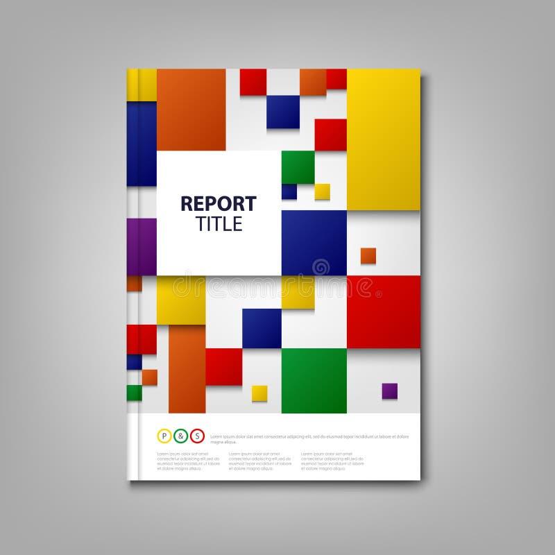 Βιβλίο ή ιπτάμενο φυλλάδιων με τα αφηρημένα τετράγωνα σχεδίου χρώματος ελεύθερη απεικόνιση δικαιώματος