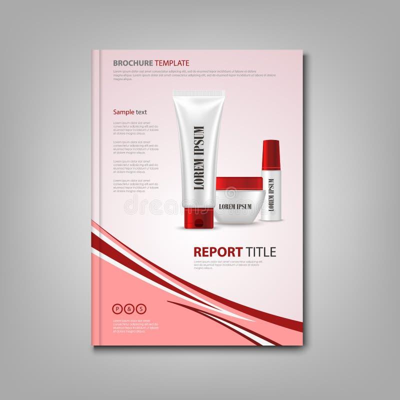 Βιβλίο ή ιπτάμενο φυλλάδιων με τις καλλυντικές προετοιμασίες στο κόκκινο σχέδιο ελεύθερη απεικόνιση δικαιώματος