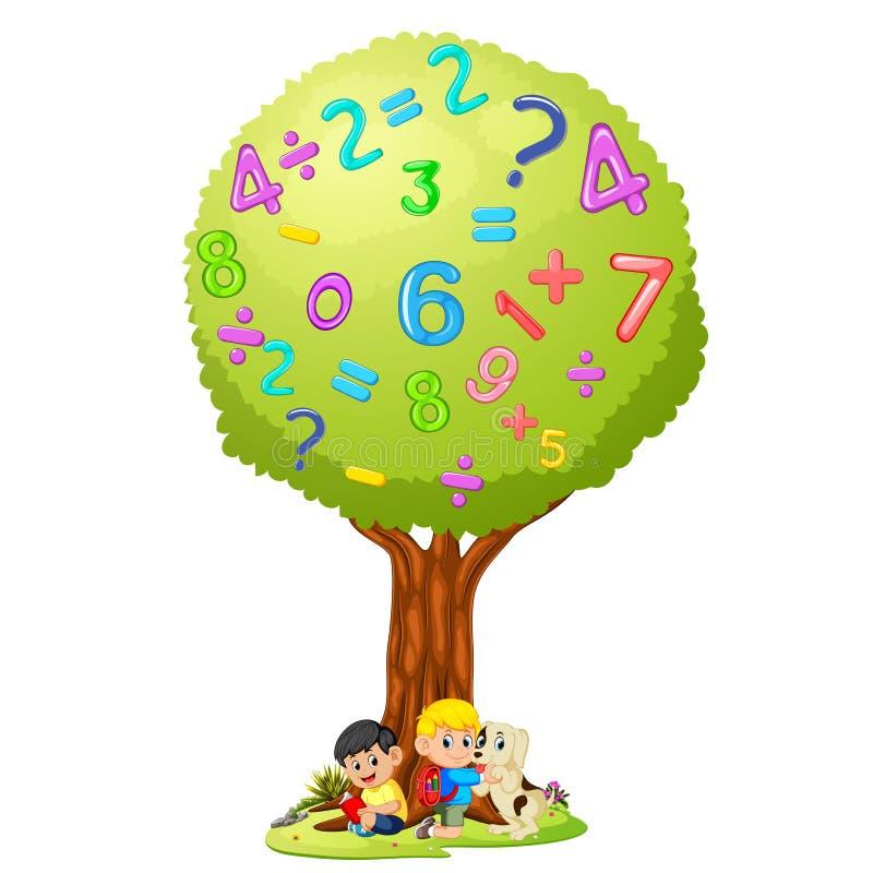 Βιβλίο ανάγνωσης αγοριών κάτω από τον αριθμό δέντρων ελεύθερη απεικόνιση δικαιώματος
