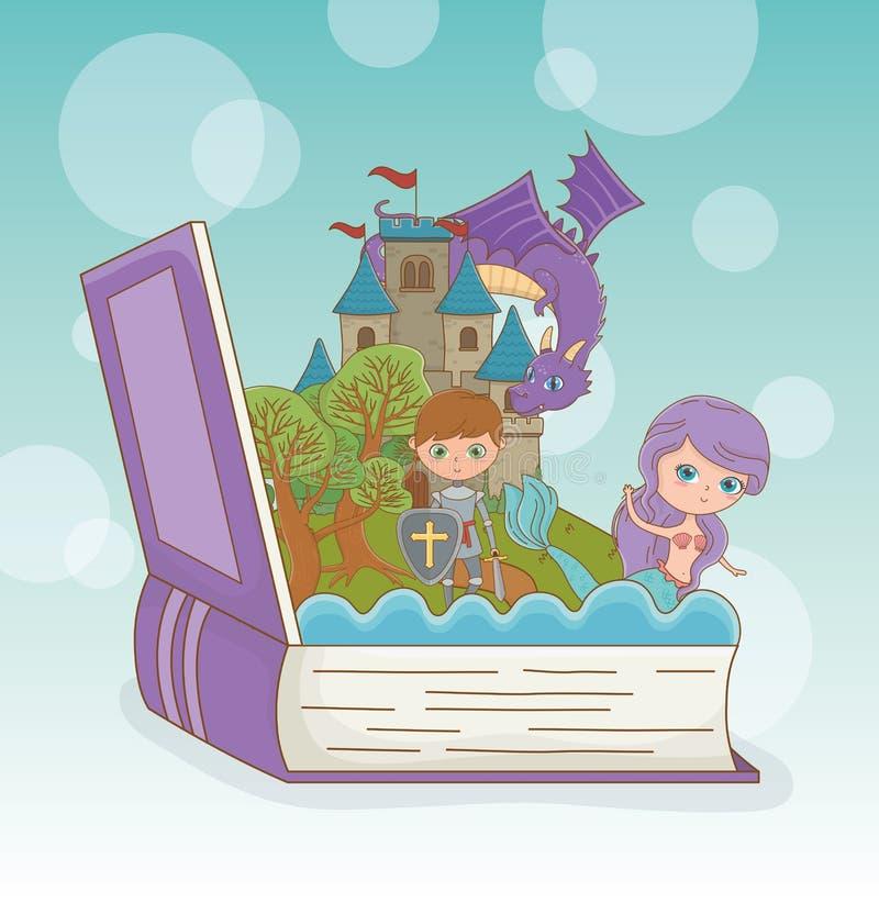 Βιβλίο ανοικτό με το δράκο παραμυθιού στο κάστρο με τον πολεμιστή και τη γοργόνα διανυσματική απεικόνιση