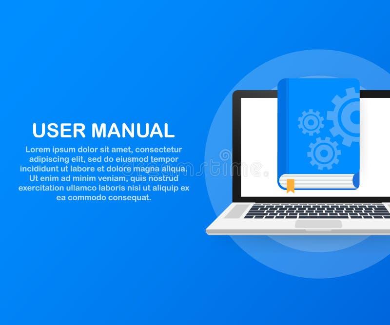 Βιβλίο εγχειριδίων χρηστών έννοιας για ιστοσελίδας, έμβλημα, κοινωνικά μέσα επίσης corel σύρετε το διάνυσμα απεικόνισης διανυσματική απεικόνιση