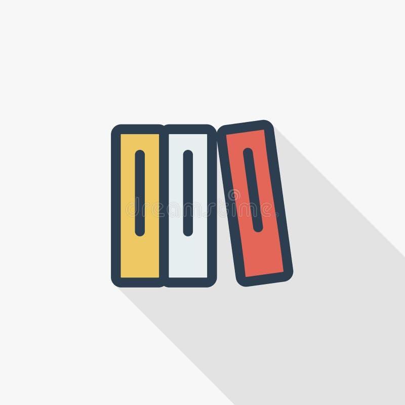Βιβλίο εκπαίδευσης, βιβλιοθήκη, λογοτεχνίας λεπτό εικονίδιο χρώματος γραμμών επίπεδο Γραμμικό διανυσματικό σύμβολο Ζωηρόχρωμο μακ απεικόνιση αποθεμάτων