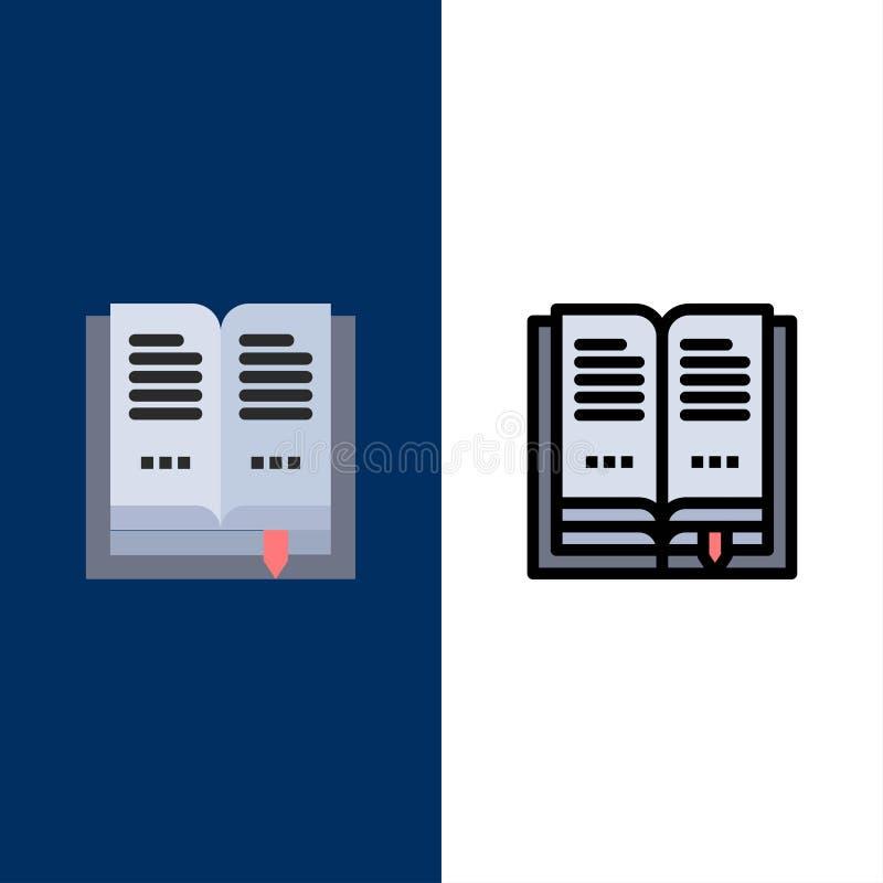 Βιβλίο, εκπαίδευση, ανοικτά εικονίδια Επίπεδος και γραμμή γέμισε το καθορισμένο διανυσματικό μπλε υπόβαθρο εικονιδίων απεικόνιση αποθεμάτων