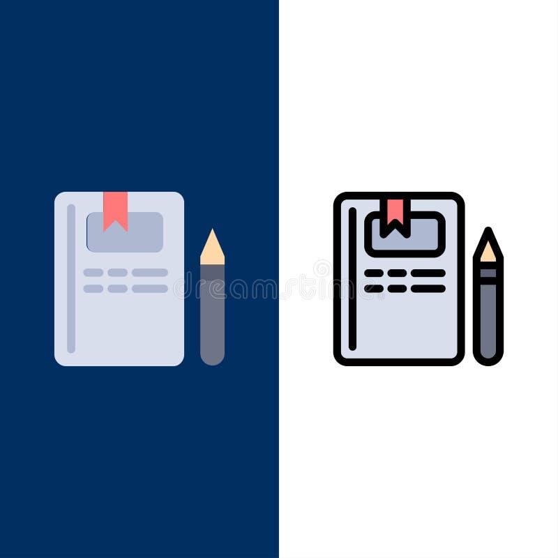 Βιβλίο, εκπαίδευση, γνώση, εικονίδια μολυβιών Επίπεδος και γραμμή γέμισε το καθορισμένο διανυσματικό μπλε υπόβαθρο εικονιδίων απεικόνιση αποθεμάτων