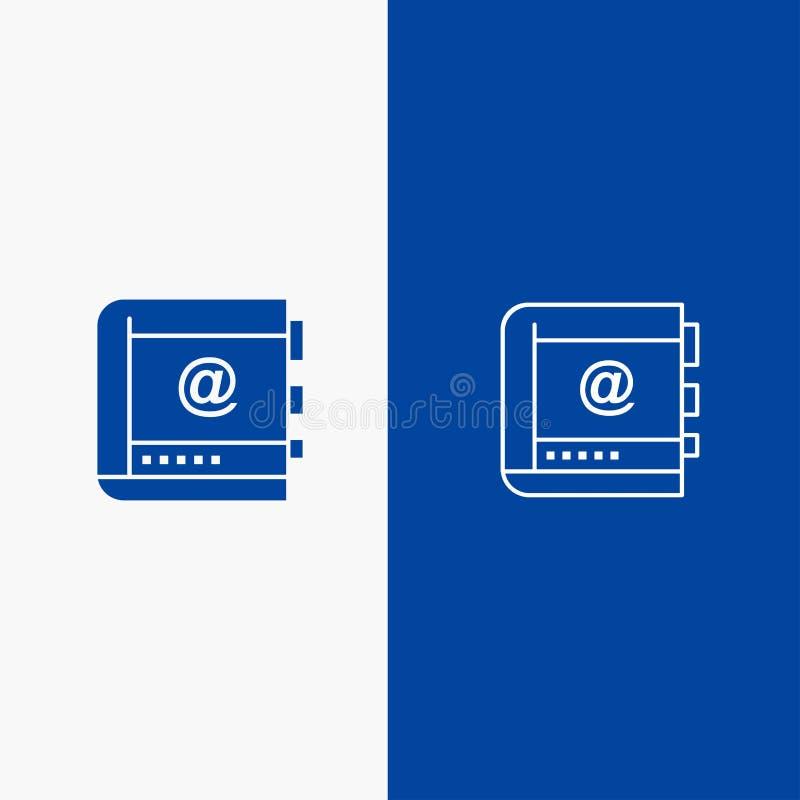 Βιβλίο, επιχείρηση, επαφή, επαφές, Διαδίκτυο, τηλέφωνο, τηλεφωνική γραμμή και στερεά γραμμή εμβλημάτων εικονιδίων Glyph μπλε και  διανυσματική απεικόνιση