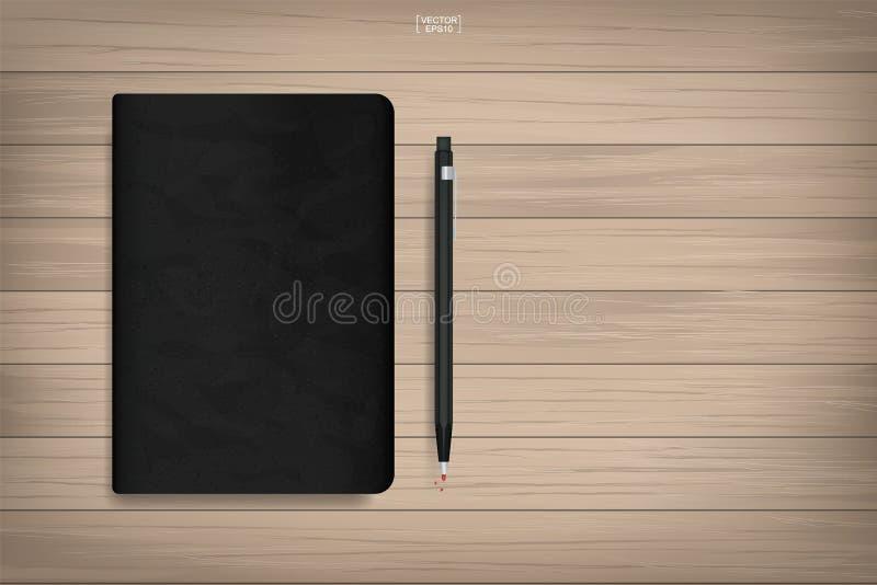 Βιβλίο μνήμης με τη μαύρη σύσταση κάλυψης και μολύβι στο ξύλινο υπόβαθρο διανυσματική απεικόνιση