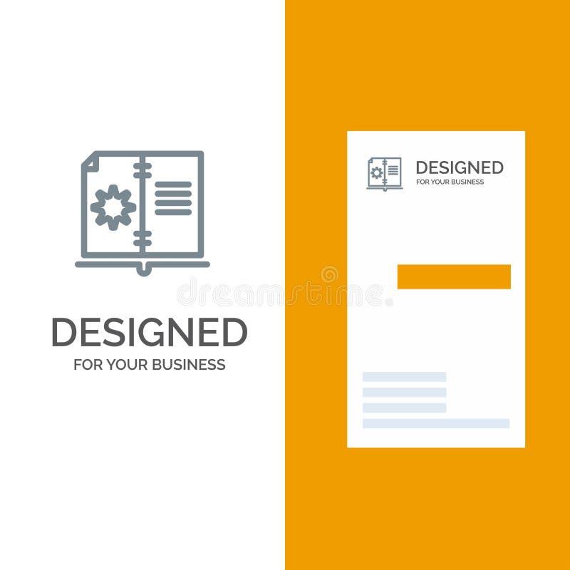 Βιβλίο, οδηγός, υλικό, γκρίζο σχέδιο λογότυπων οδηγίας και πρότυπο επαγγελματικών καρτών διανυσματική απεικόνιση