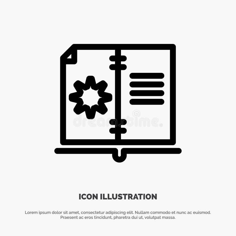 Βιβλίο, οδηγός, υλικό, διάνυσμα εικονιδίων γραμμών οδηγίας διανυσματική απεικόνιση