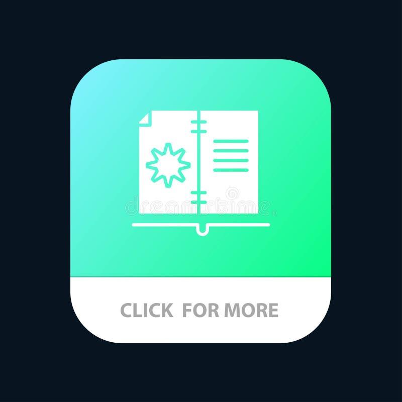 Βιβλίο, οδηγός, υλικό, κινητό App οδηγίας κουμπί Αρρενωπή και IOS Glyph έκδοση διανυσματική απεικόνιση