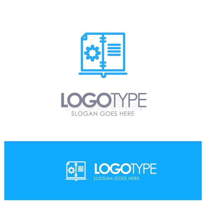 Βιβλίο, οδηγός, υλικό, μπλε λογότυπο περιλήψεων οδηγίας με τη θέση για το tagline ελεύθερη απεικόνιση δικαιώματος