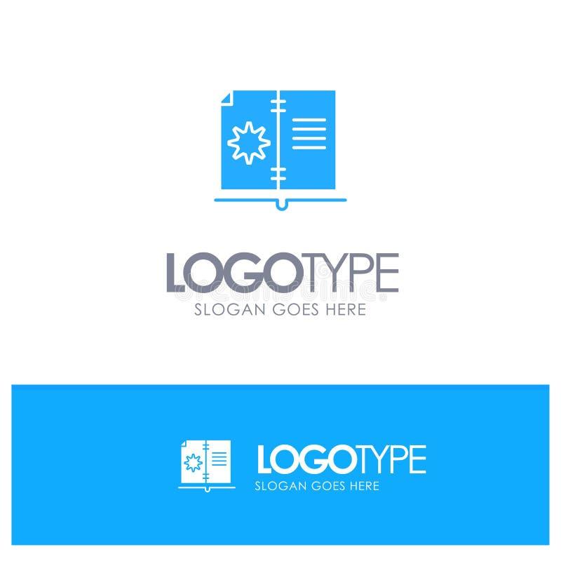 Βιβλίο, οδηγός, υλικό, μπλε στερεό λογότυπο οδηγίας με τη θέση για το tagline απεικόνιση αποθεμάτων
