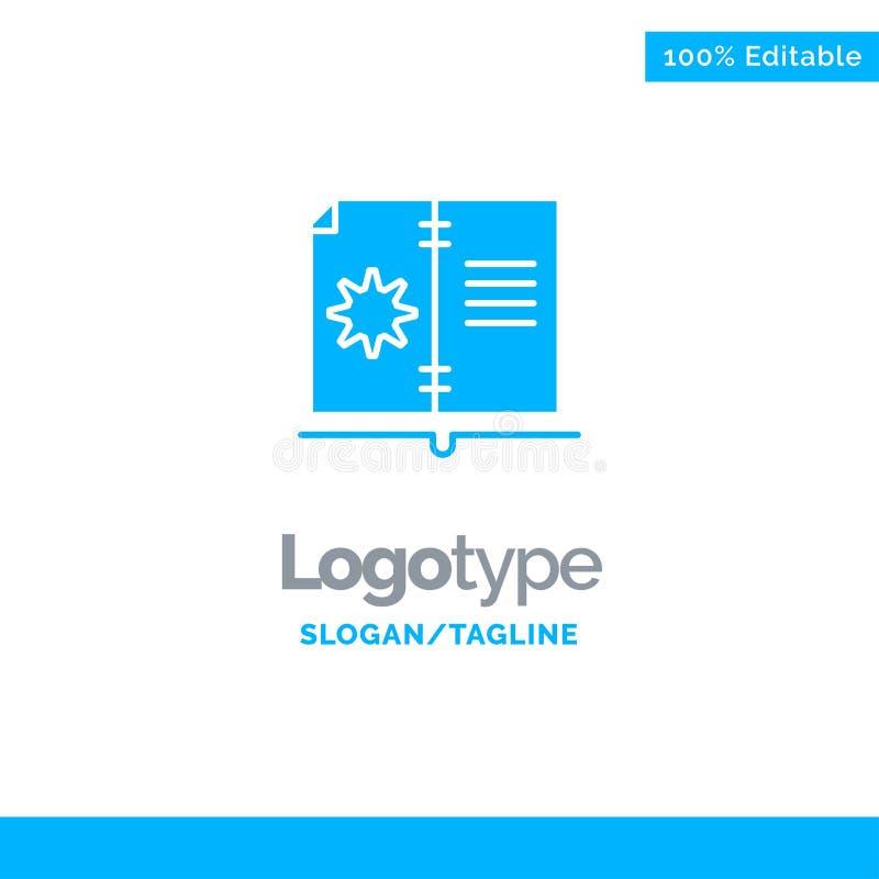 Βιβλίο, οδηγός, υλικό, μπλε στερεό πρότυπο λογότυπων οδηγίας r απεικόνιση αποθεμάτων