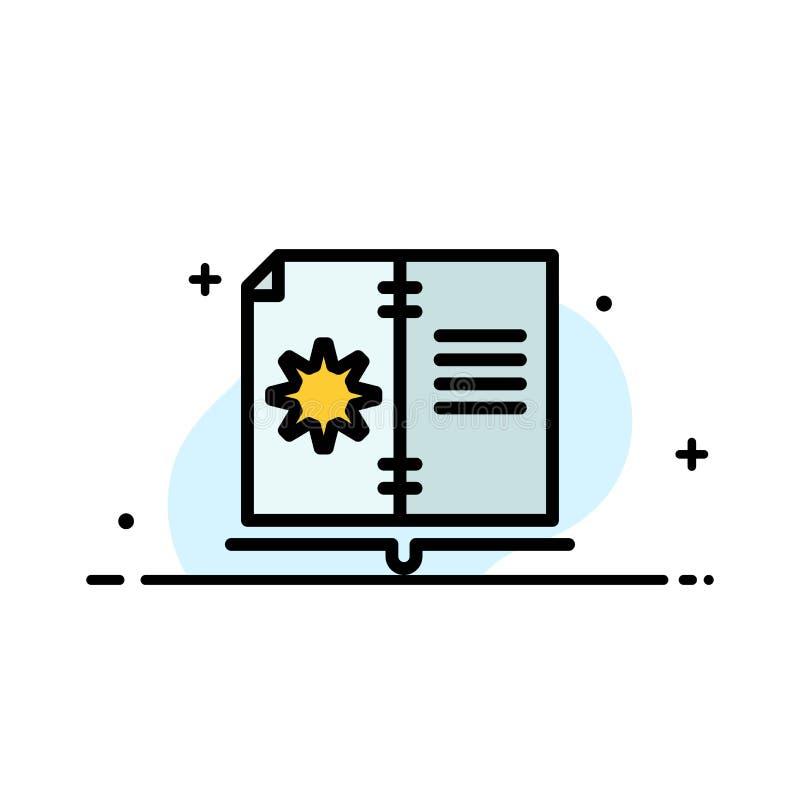 Βιβλίο, οδηγός, υλικό, οδηγίας πρότυπο εμβλημάτων επιχειρησιακών επίπεδο γεμισμένο γραμμή εικονιδίων διανυσματικό διανυσματική απεικόνιση