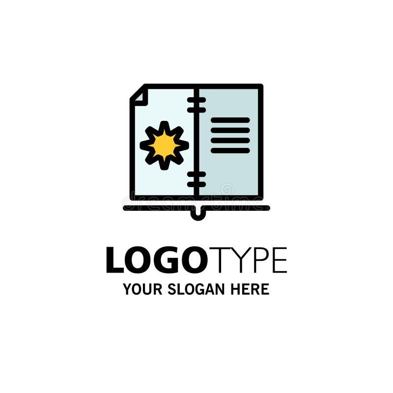 Βιβλίο, οδηγός, υλικό, πρότυπο επιχειρησιακών λογότυπων οδηγίας Επίπεδο χρώμα απεικόνιση αποθεμάτων