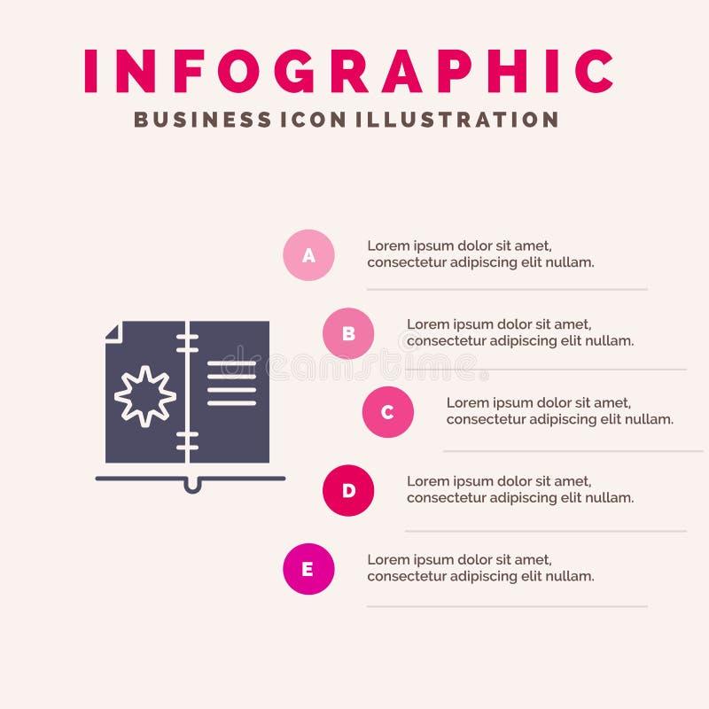 Βιβλίο, οδηγός, υλικό, στερεό εικονίδιο Infographics 5 οδηγίας υπόβαθρο παρουσίασης βημάτων διανυσματική απεικόνιση